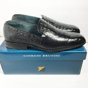 Giorgio Brutini Black Leather Slip-On Shoes US 14M